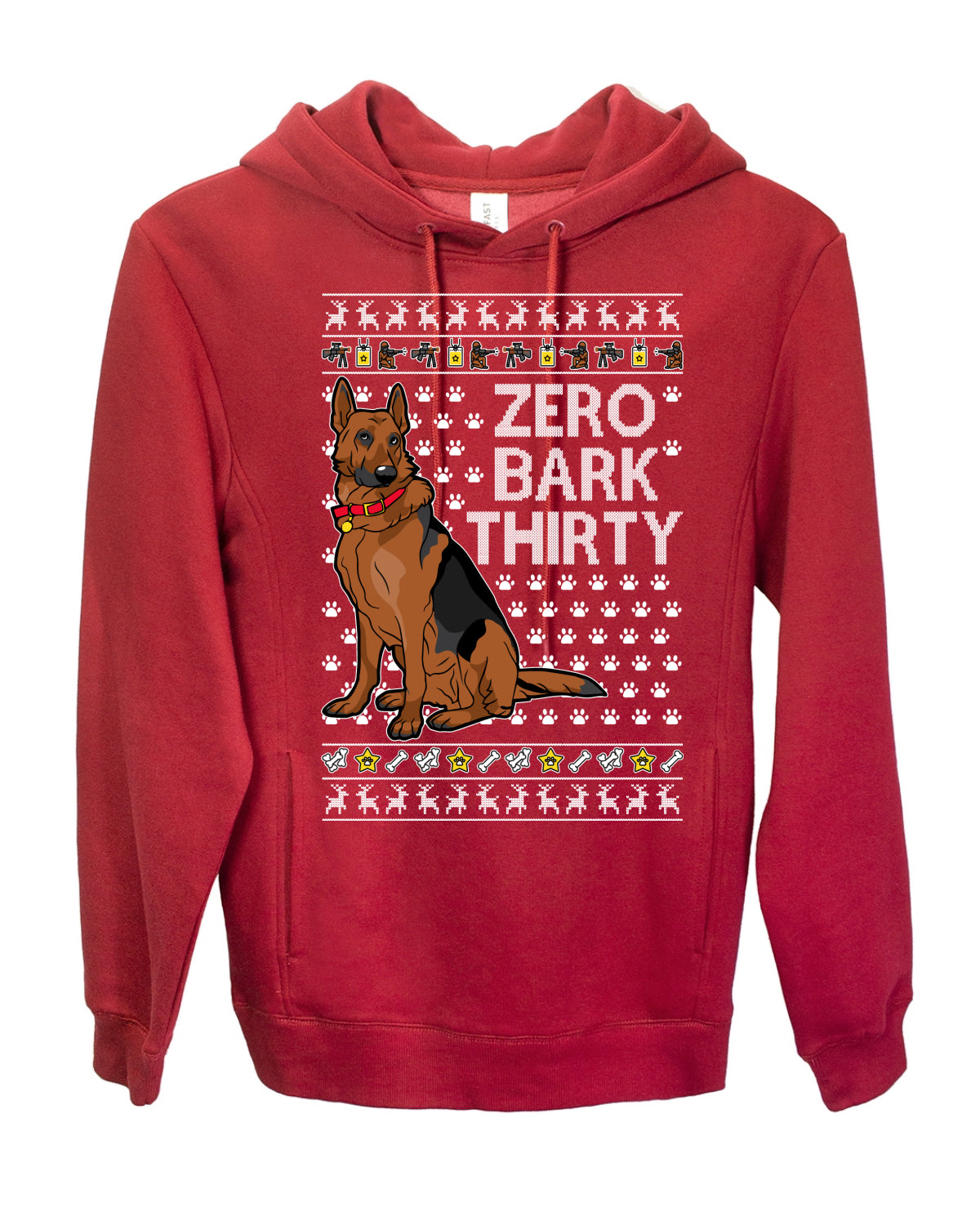 Zero Bark Thirty Funny Dog Xmas Ugly Christmas Premium Graphic Hoodie Sweatshirt