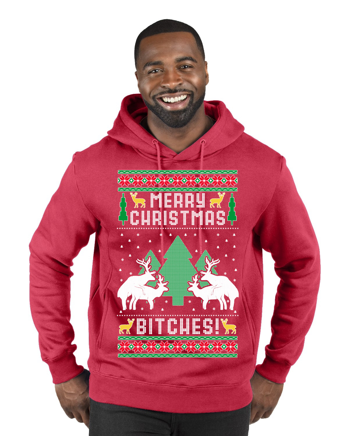 Merry Christmas Bitches Ugly Christmas Sweater Premium Graphic Hoodie Sweatshirt