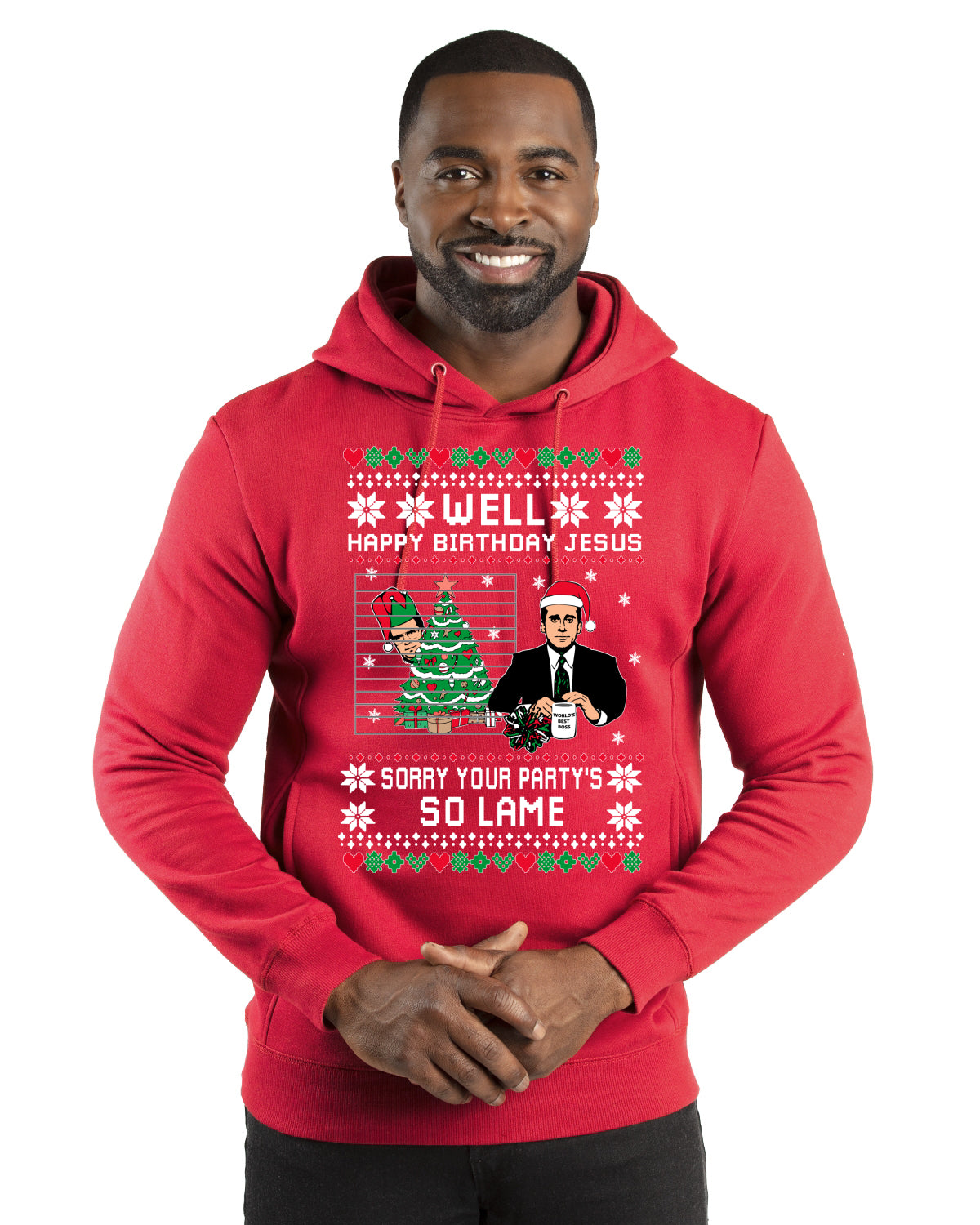 Well Happy Birthday Jesus Funny Quote Office Christmas Premium Graphic Hoodie Sweatshirt