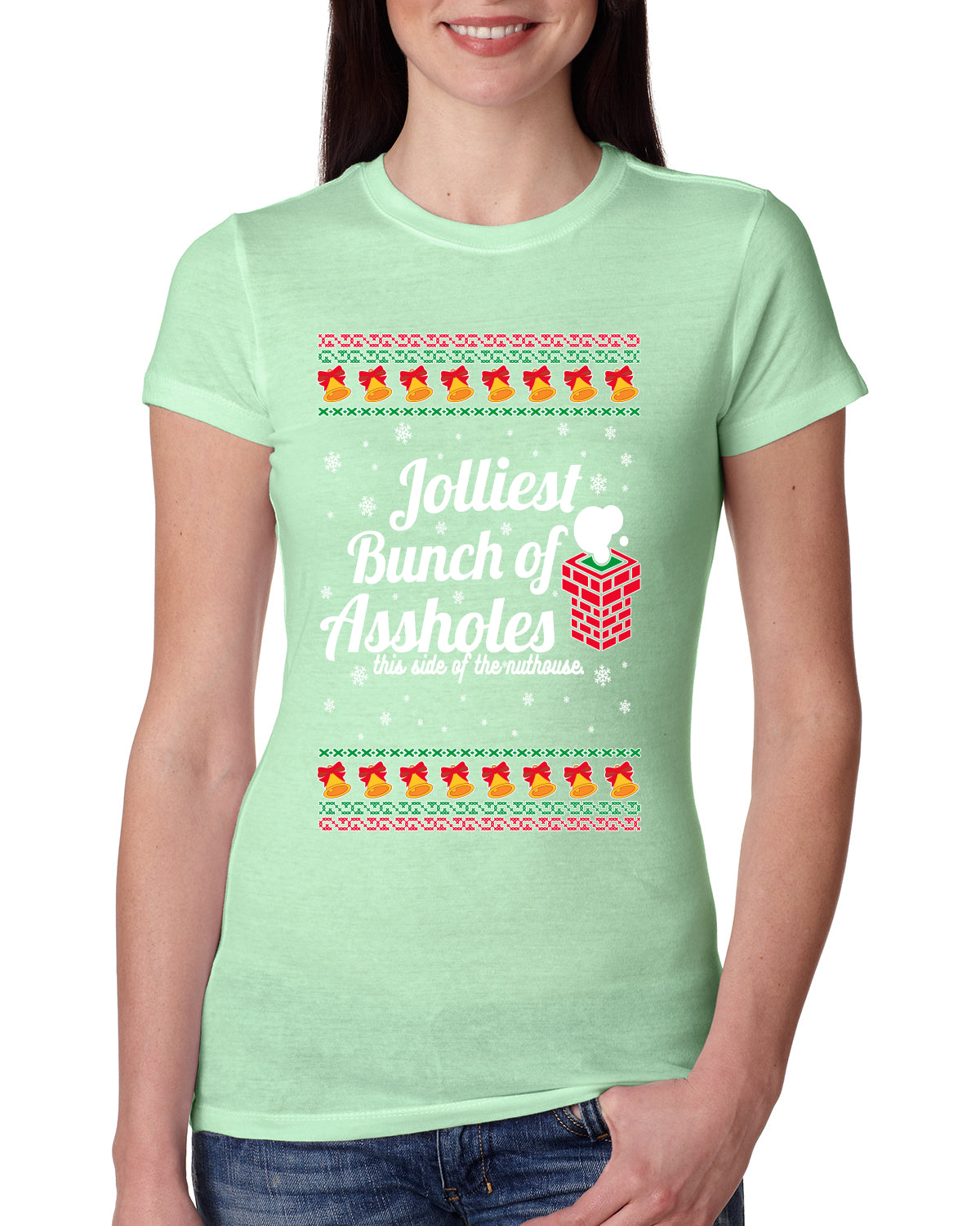 Jolliest Bunch of Assholes Xmas Movie Ugly Christmas Sweater Womens Slim Fit Junior Tee