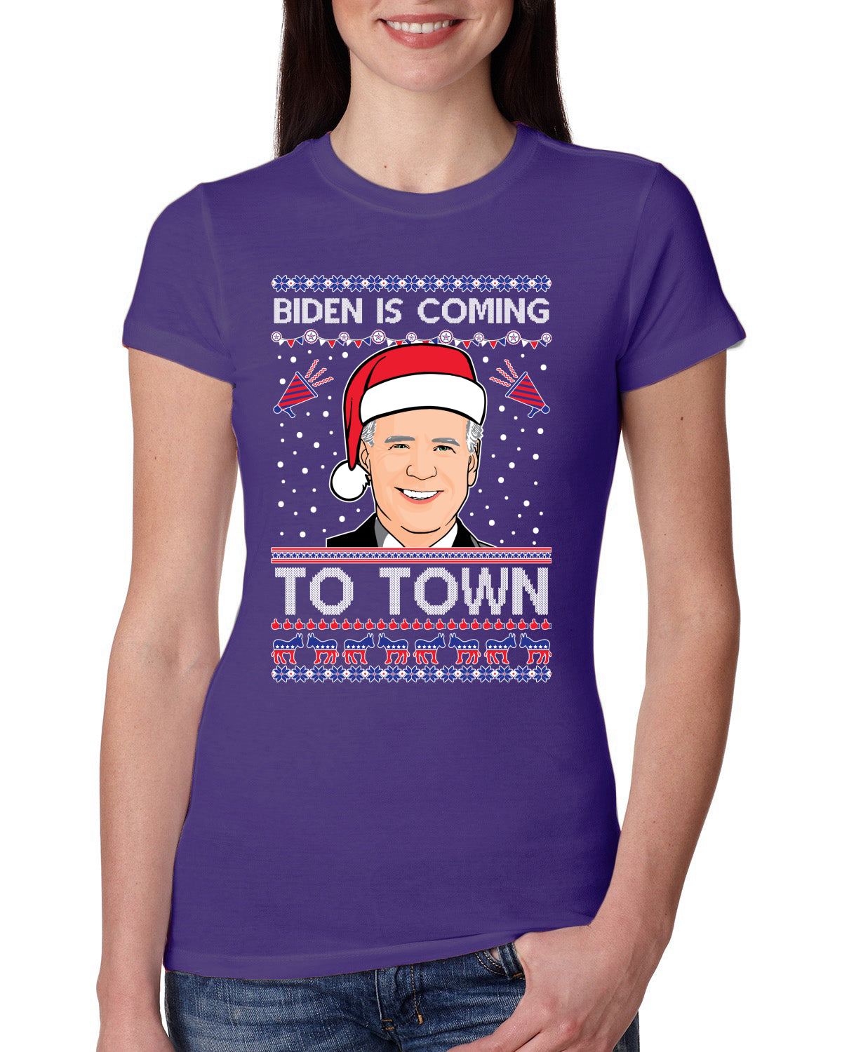 Biden Is Coming To Town Ugly Christmas Sweater Womens Slim Fit Junior Tee