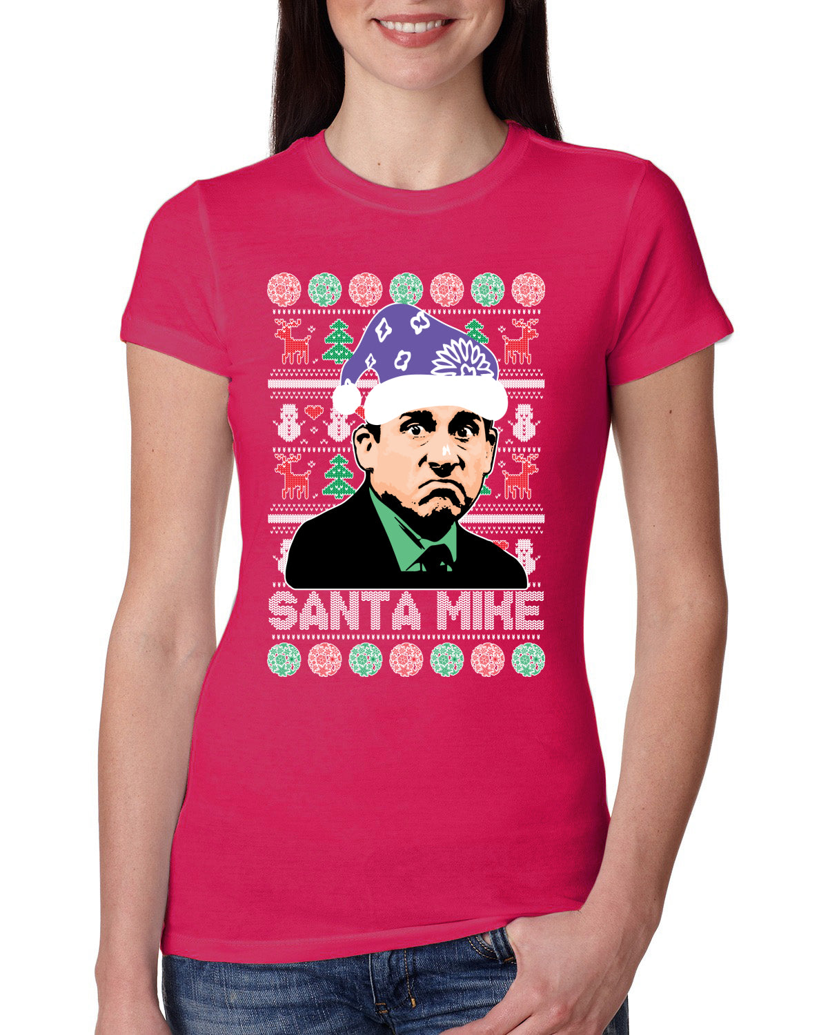 Santa Mike Michael Scott The Office Ugly Christmas Sweater Womens Slim Fit Junior Tee