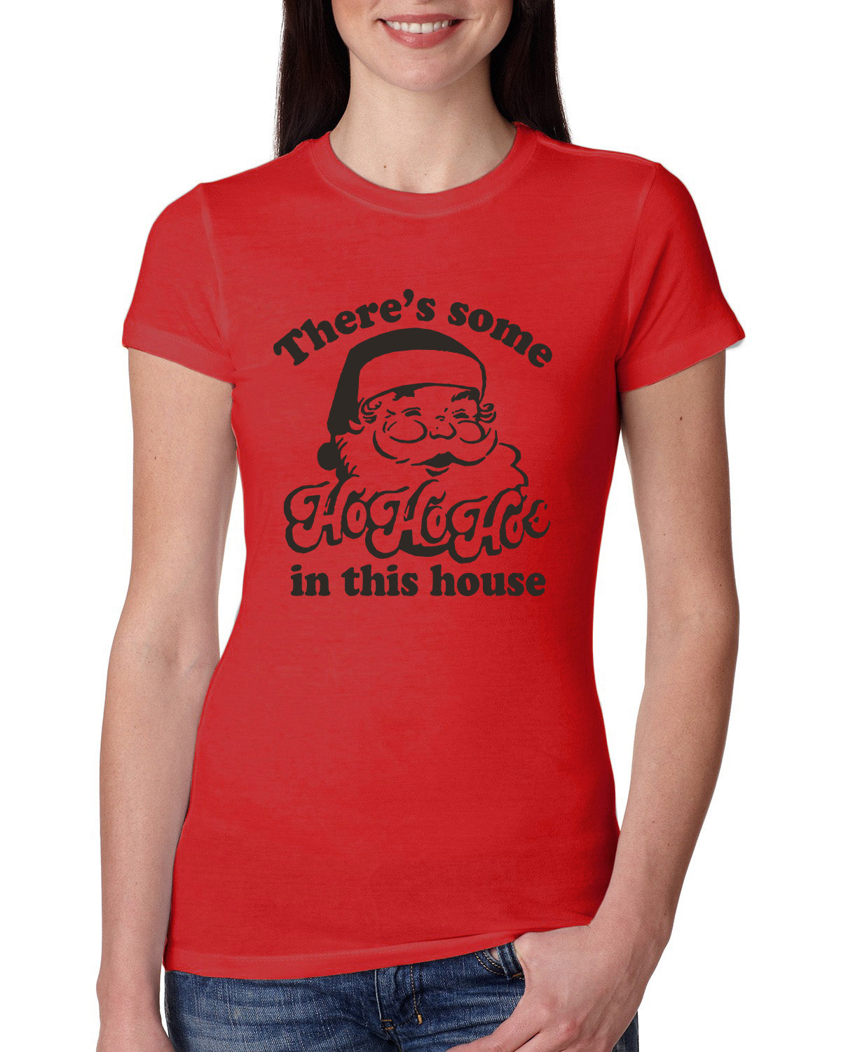 Theres some Ho Ho Ho in this House Ugly Christmas Sweater Womens Slim Fit Junior Tee