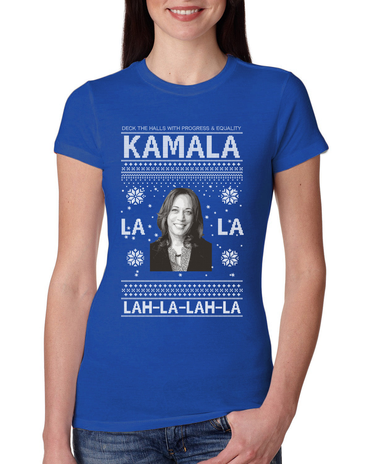 Kamala La La Lah-La-Lah-La Harris 2020 Ugly Christmas Sweater Womens Slim Fit Junior Tee