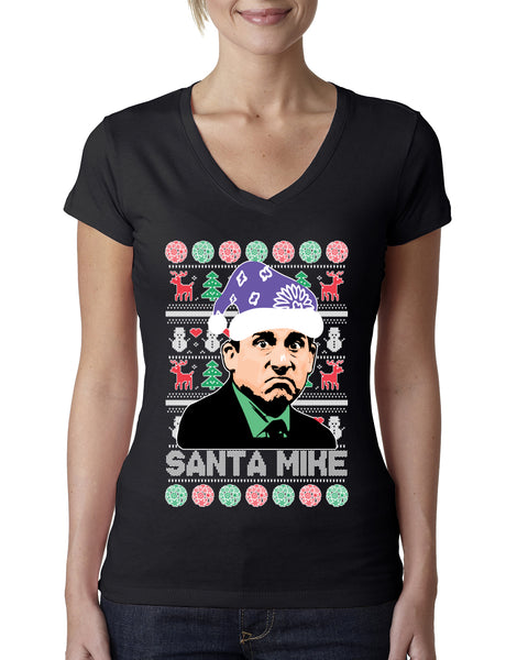 Santa Mike Michael Scott The Office Ugly Christmas Sweater Womens Junior Fit V-Neck Tee