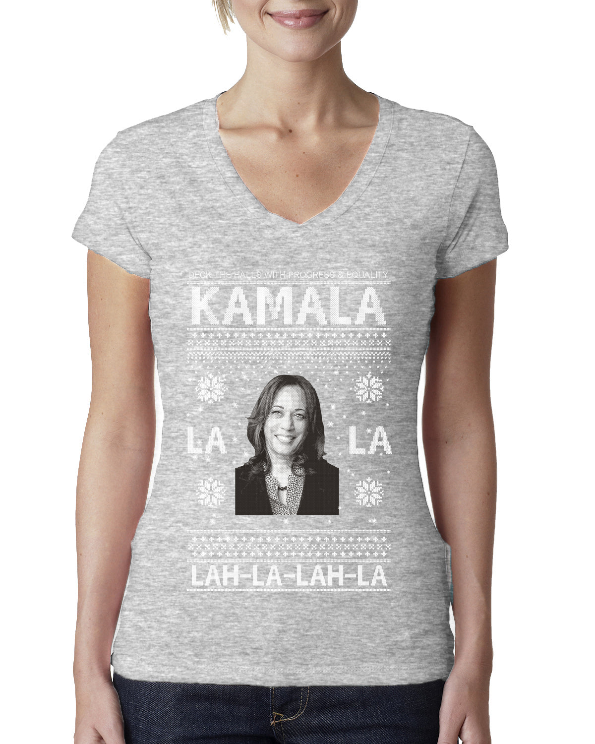 Kamala La La Lah-La-Lah-La Harris 2020 Ugly Christmas Sweater Womens Junior Fit V-Neck Tee