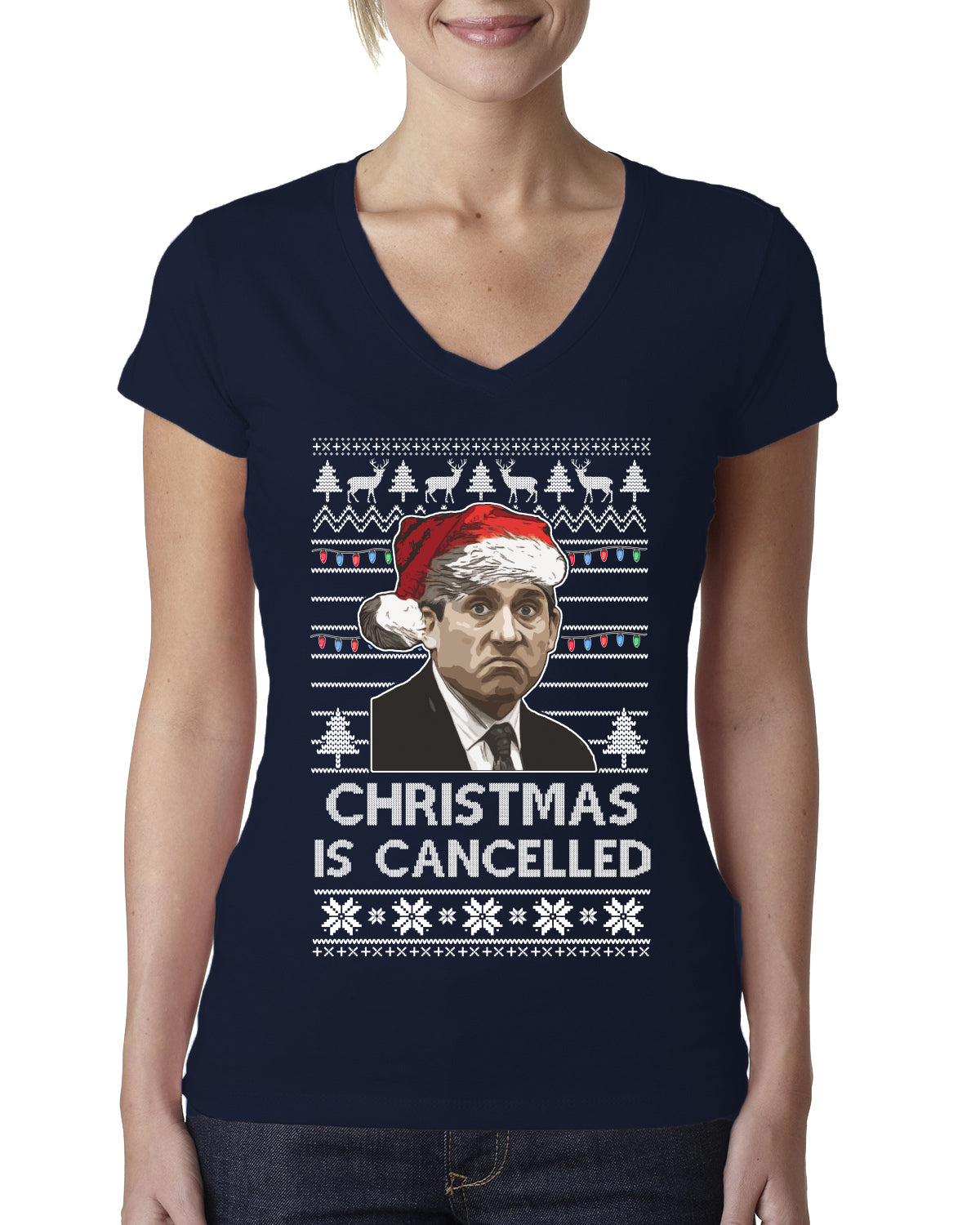 Christmas Is Cancelled Michael Scott Office Ugly Christmas Sweater Womens Junior Fit V-Neck Tee
