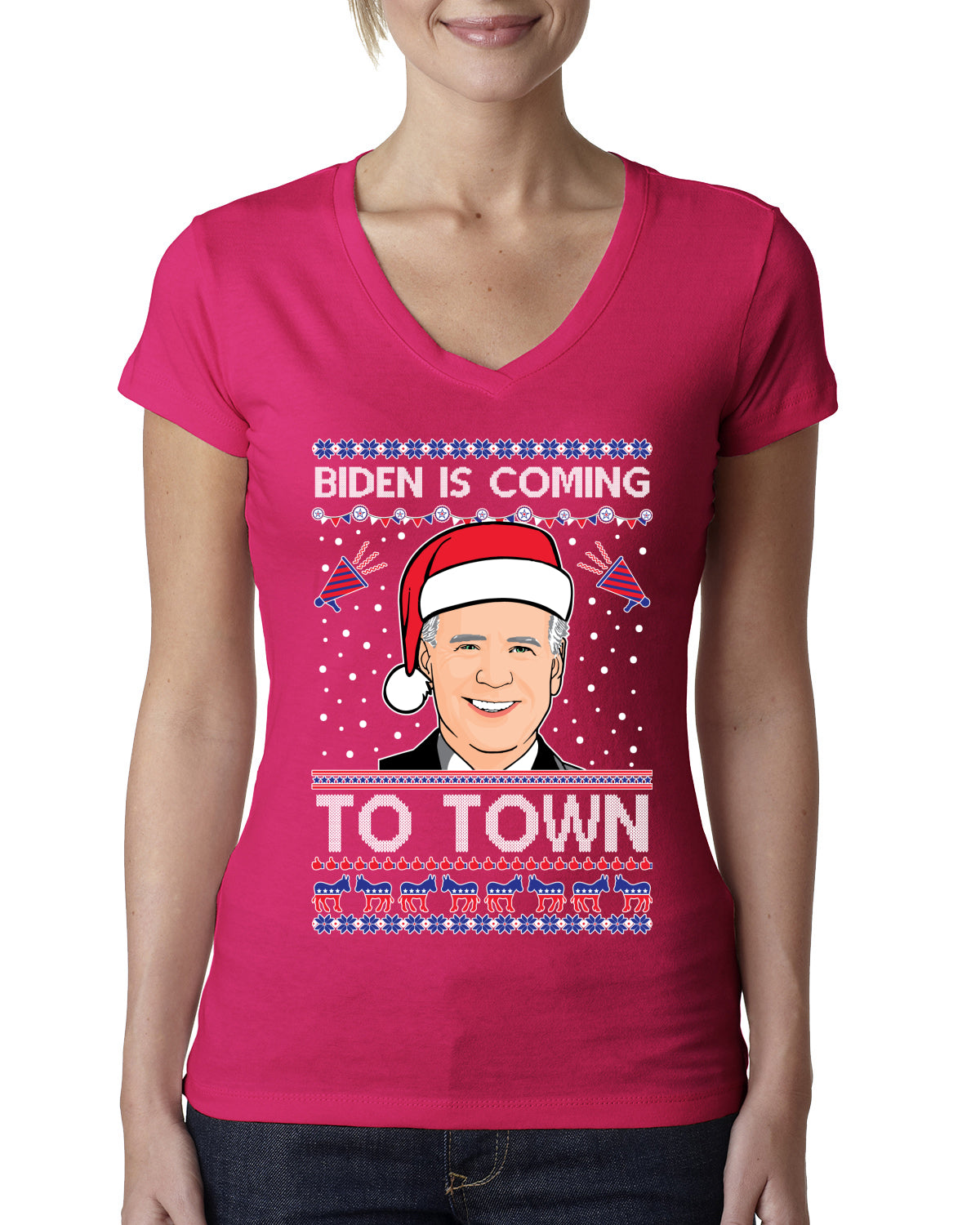 Biden Is Coming To Town Ugly Christmas Sweater Womens Junior Fit V-Neck Tee