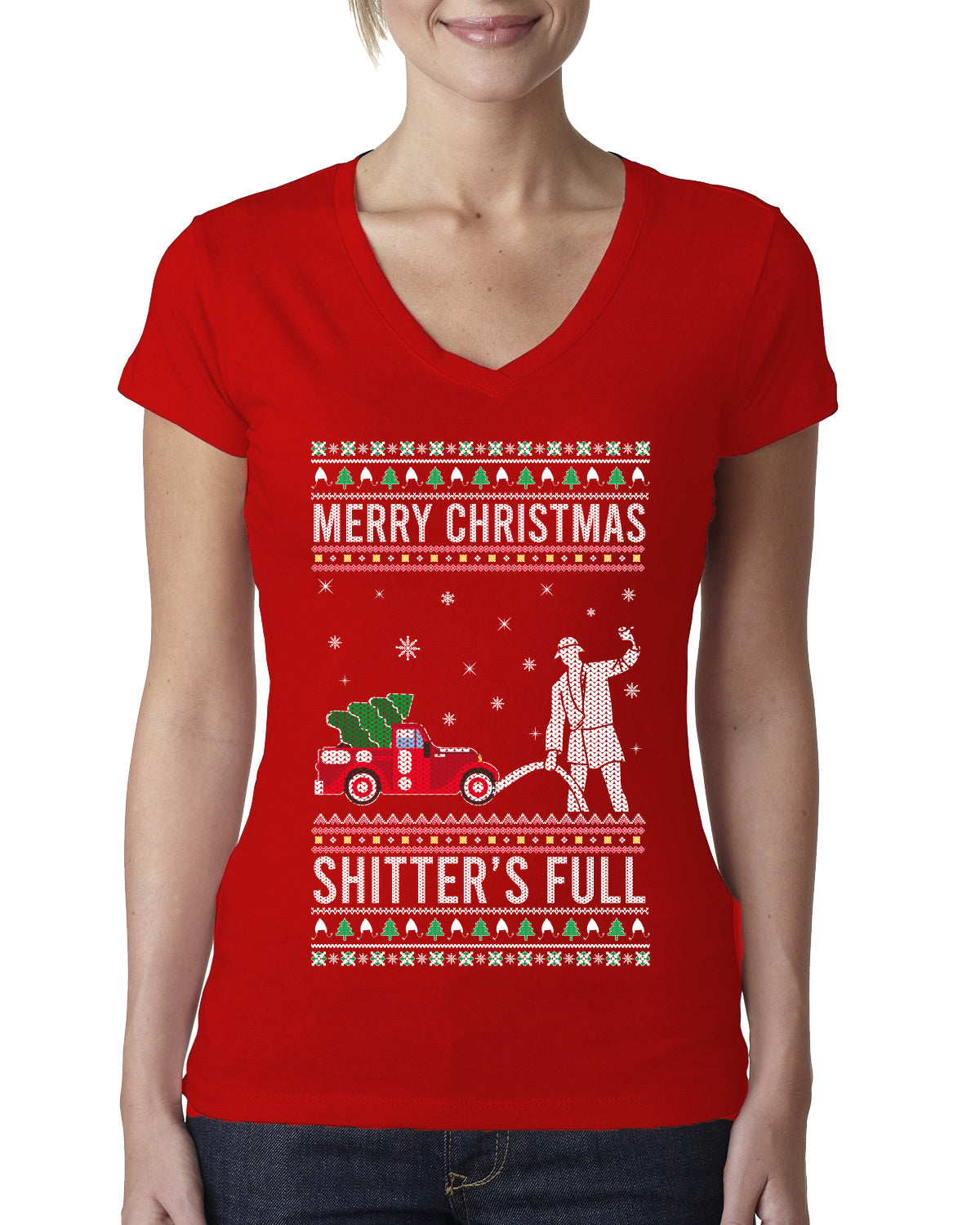 Merry Christmas Shitter's Full Christmas Vacation Ugly Christmas Sweater Womens Junior Fit V-Neck Tee