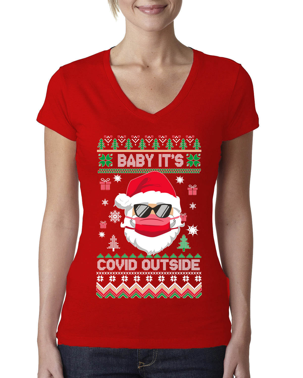 Santa Baby Its Covid Outside Pandemic Ugly Christmas Sweater Womens Junior Fit V-Neck Tee