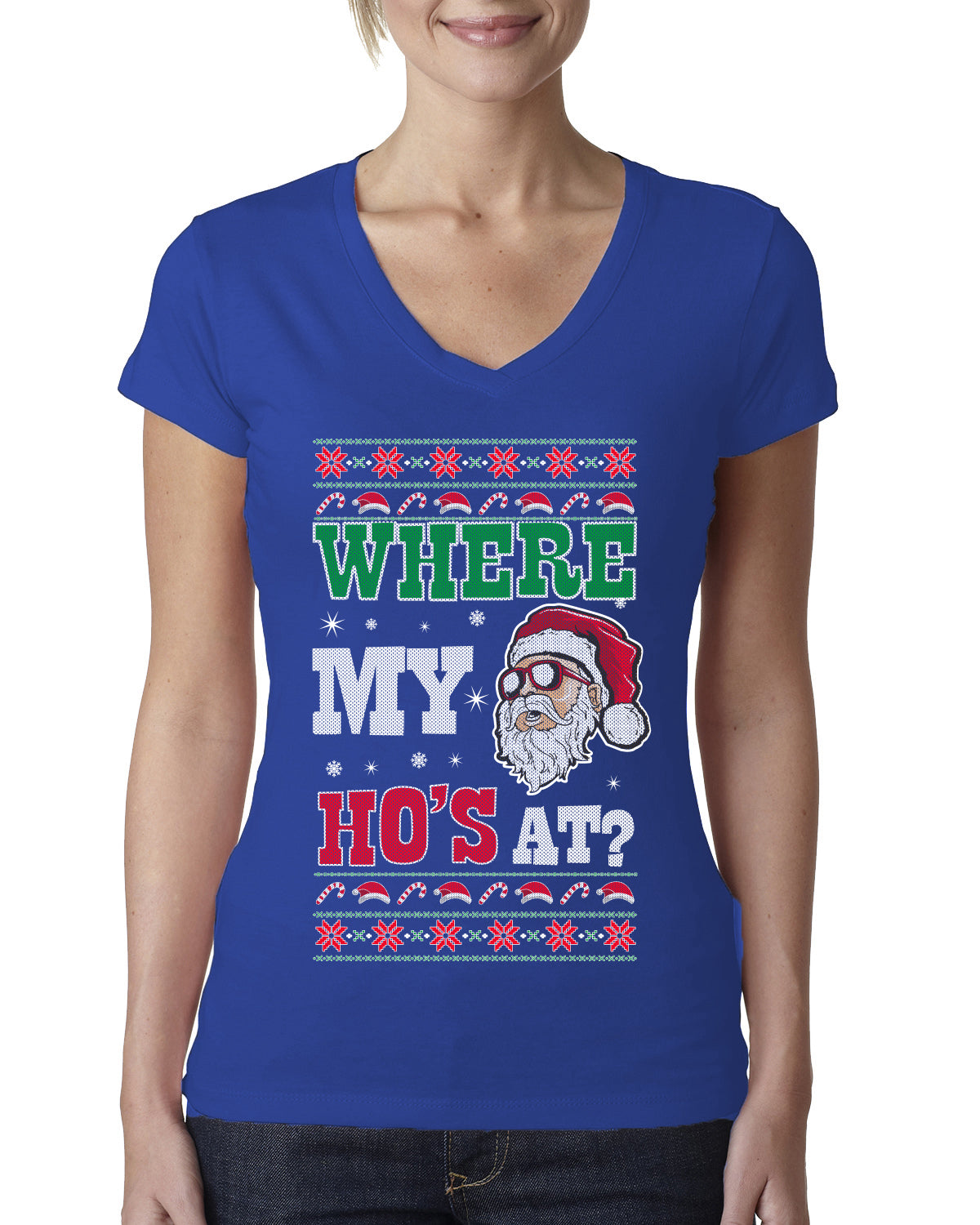 Where my Hos At Santa Funny Ugly Christmas Sweater Womens Junior Fit V-Neck Tee
