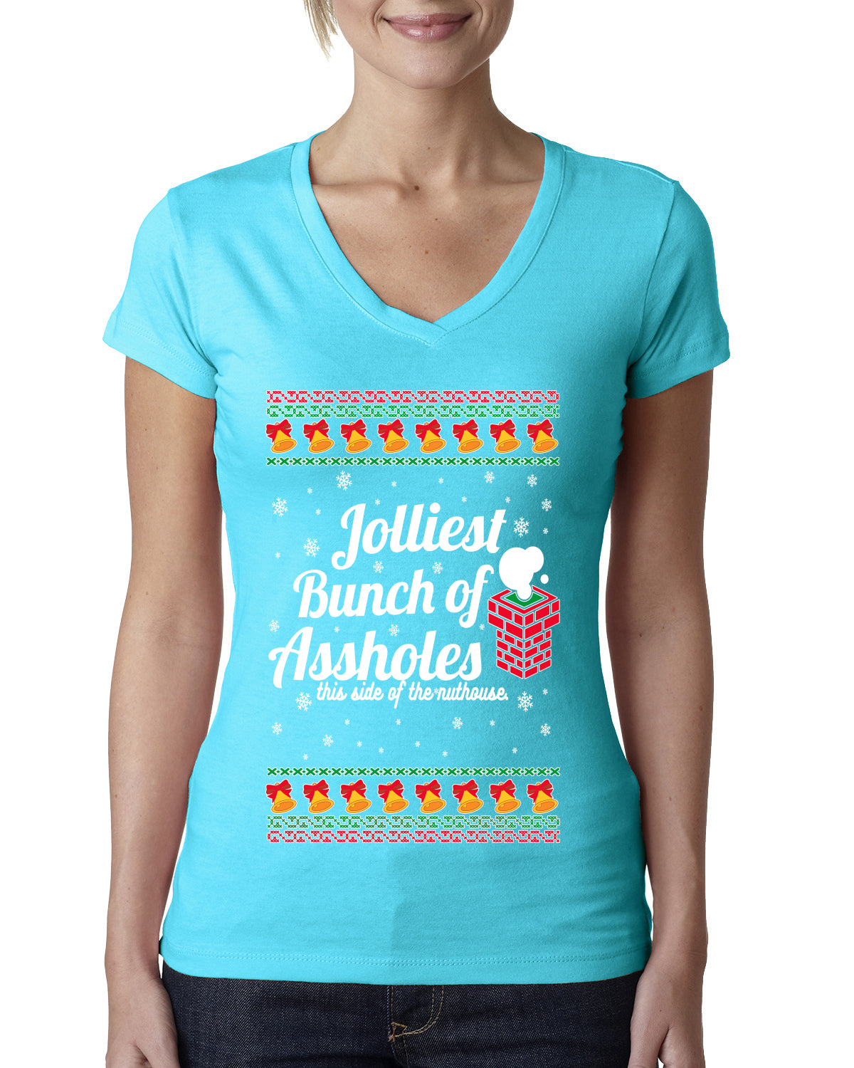 Jolliest Bunch of Assholes Xmas Movie Ugly Christmas Sweater Womens Junior Fit V-Neck Tee