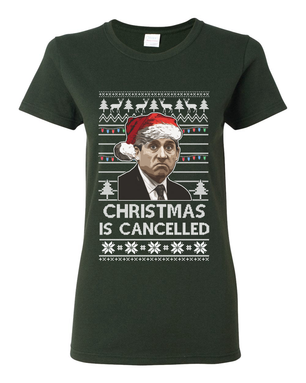 Christmas Is Cancelled Michael Scott Office Ugly Christmas Sweater Womens Graphic T-Shirt