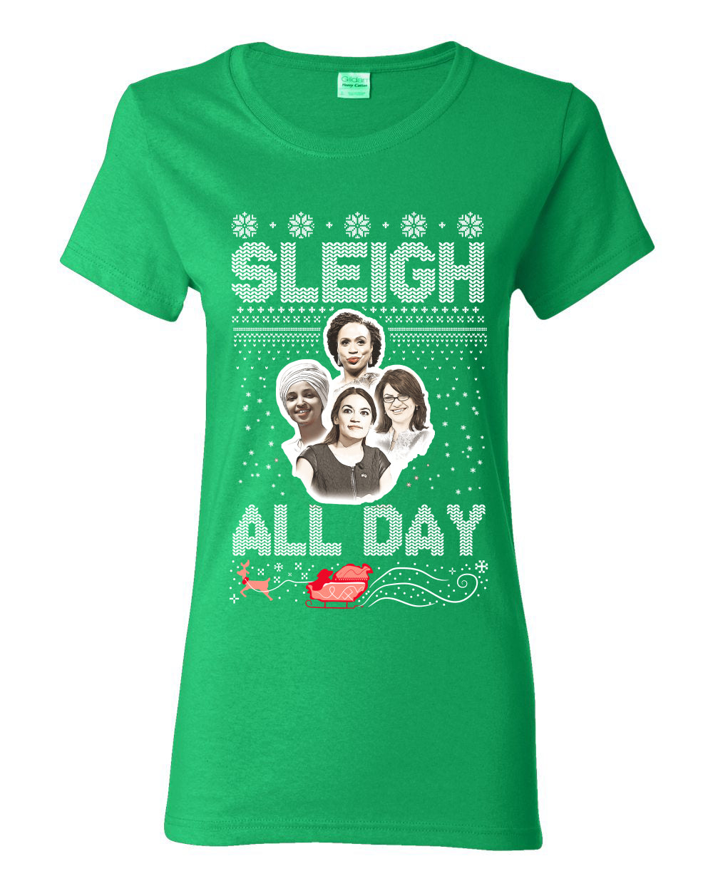 AOC The Squad Congresswomen Sleigh All Day Xmas Ugly Christmas Sweater Womens Graphic T-Shirt