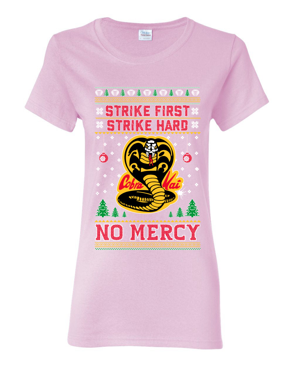 Strike First Strike Hard No Mercy Xmas Ugly Christmas Sweater Womens Graphic T-Shirt