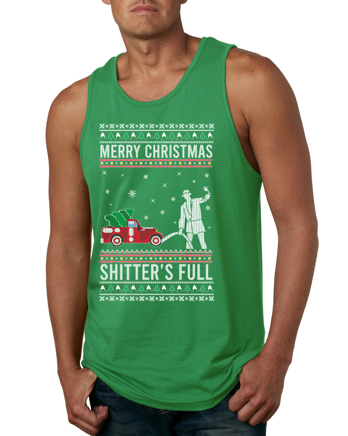 Merry Christmas Shitter's Full Christmas Vacation Ugly Christmas Sweater Mens Graphic Tank Top