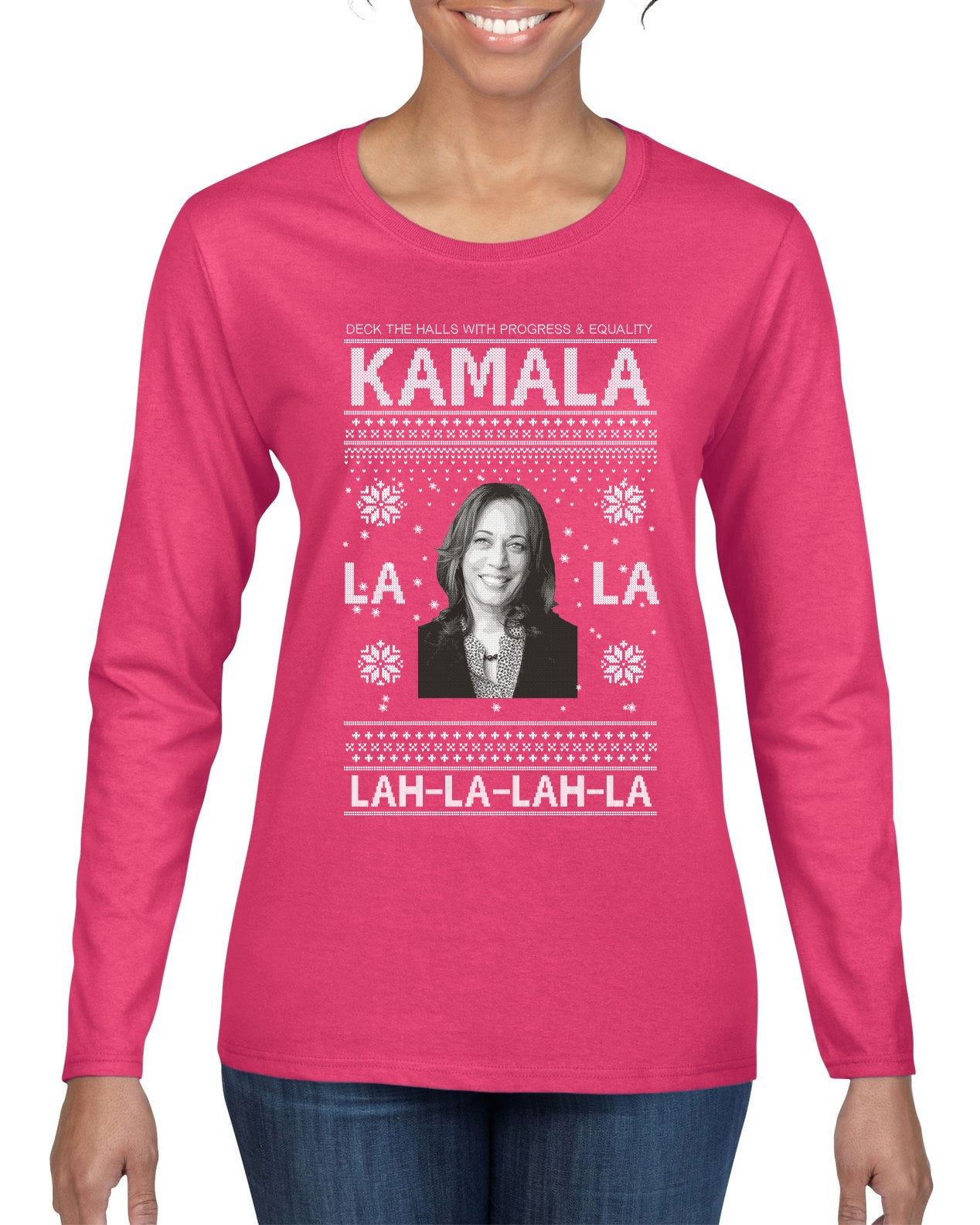 Kamala La La Lah-La-Lah-La Harris 2020 Ugly Christmas Sweater Womens Graphic Long Sleeve T-Shirt