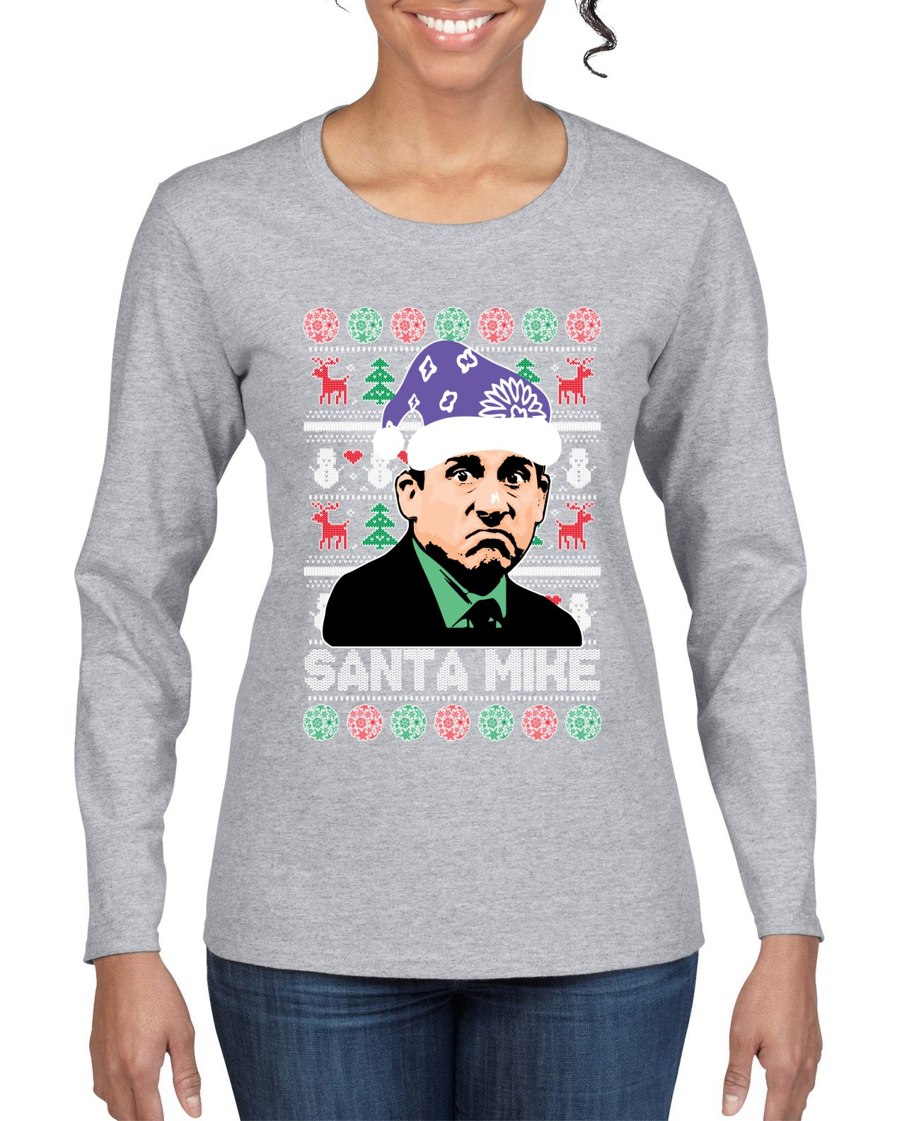 Santa Mike Michael Scott The Office Ugly Christmas Sweater Womens Graphic Long Sleeve T-Shirt