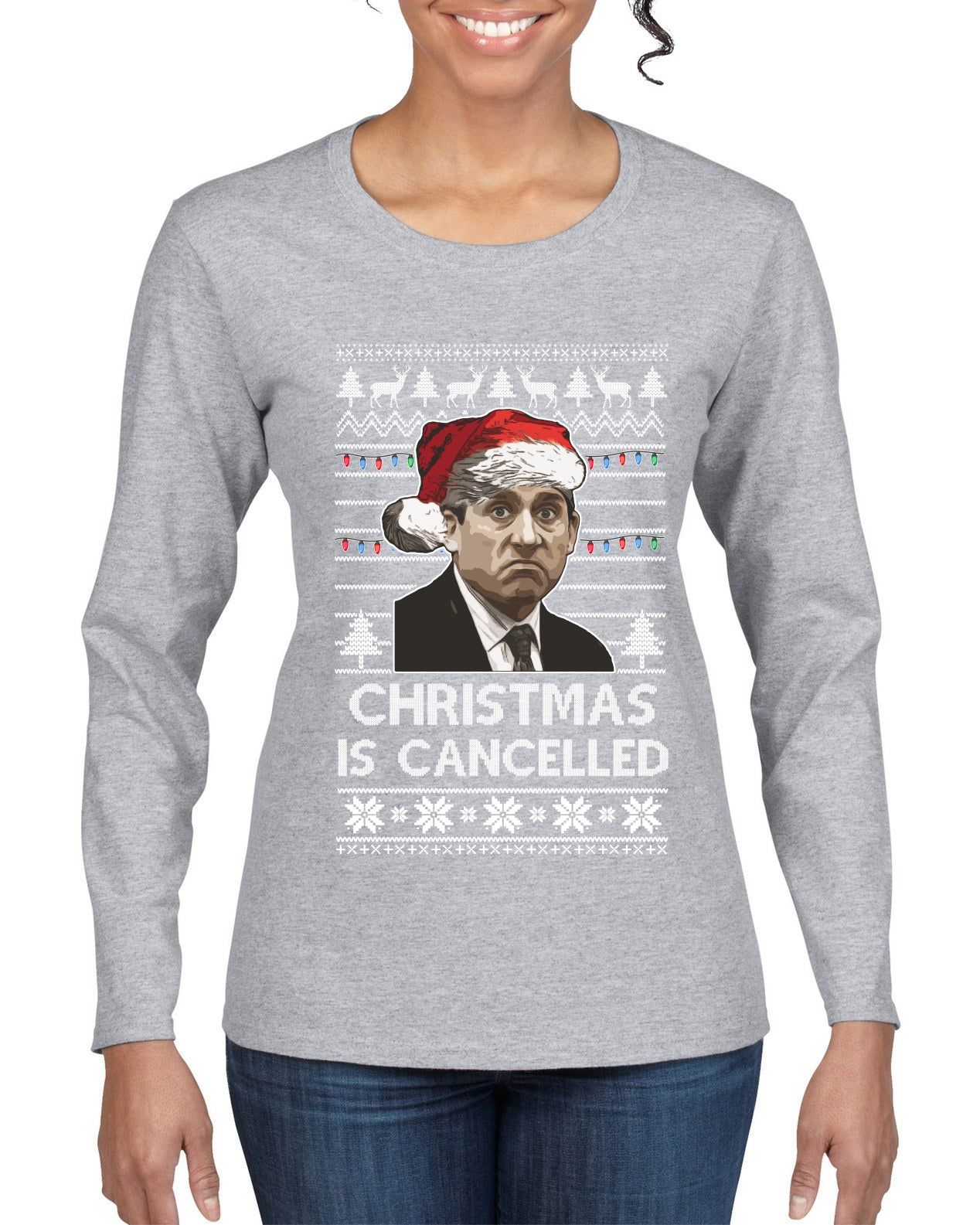 Christmas Is Cancelled Michael Scott Office Ugly Christmas Sweater Womens Graphic Long Sleeve T-Shirt