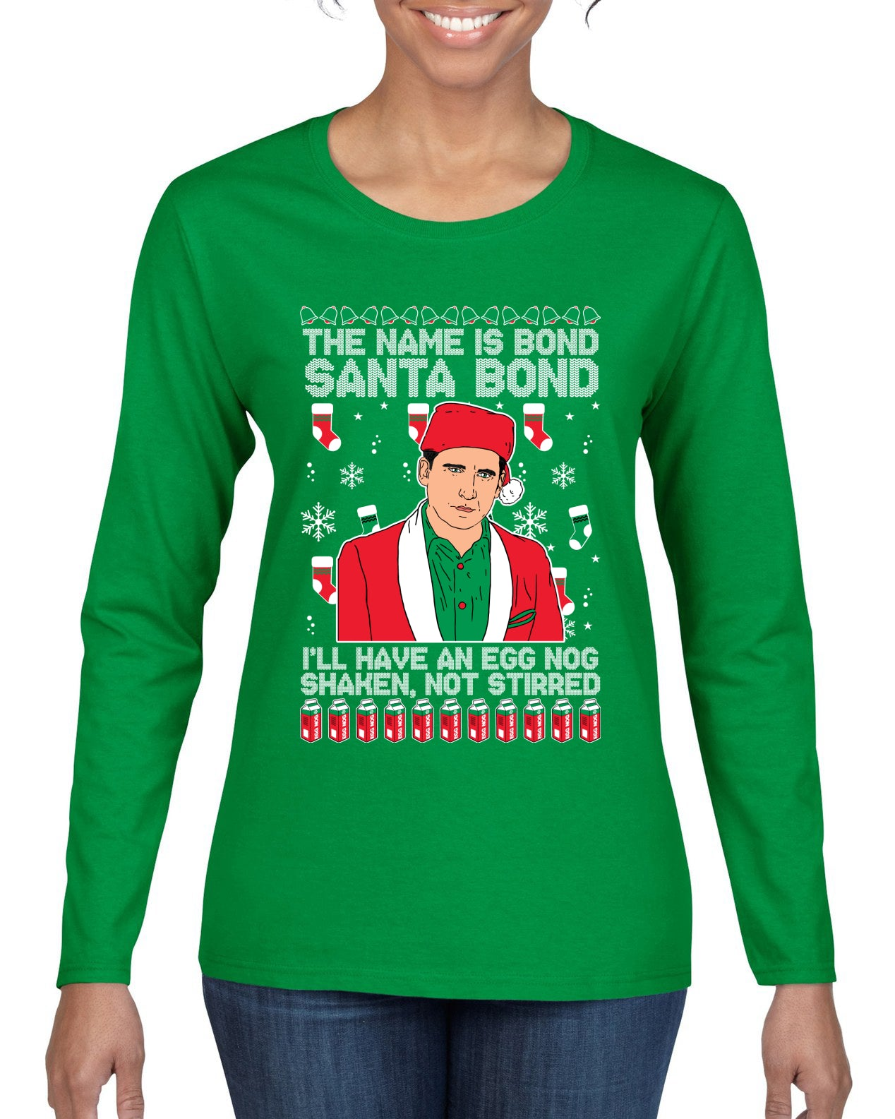 Michael Scott The Name is Bond Santa Bond Ugly Christmas Sweater Womens Graphic Long Sleeve T-Shirt
