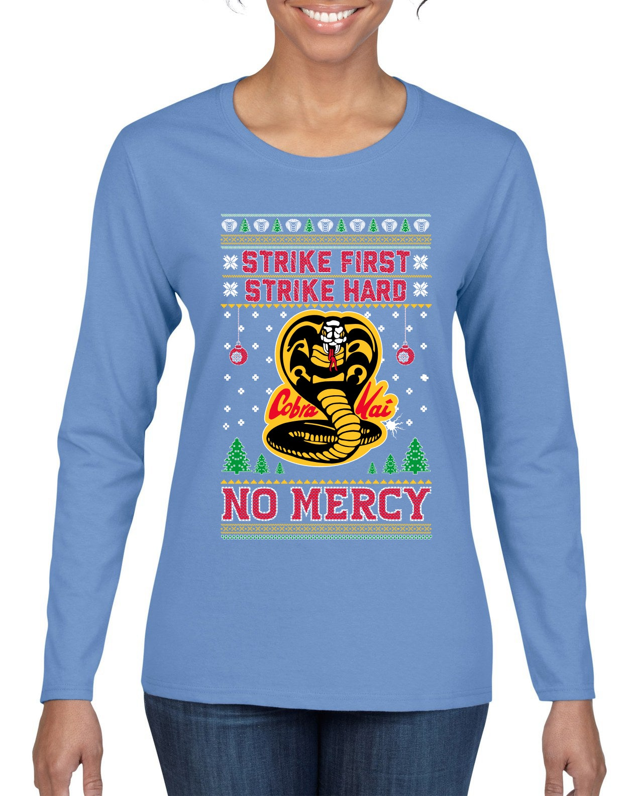 Strike First Strike Hard No Mercy Xmas Ugly Christmas Sweater Womens Graphic Long Sleeve T-Shirt