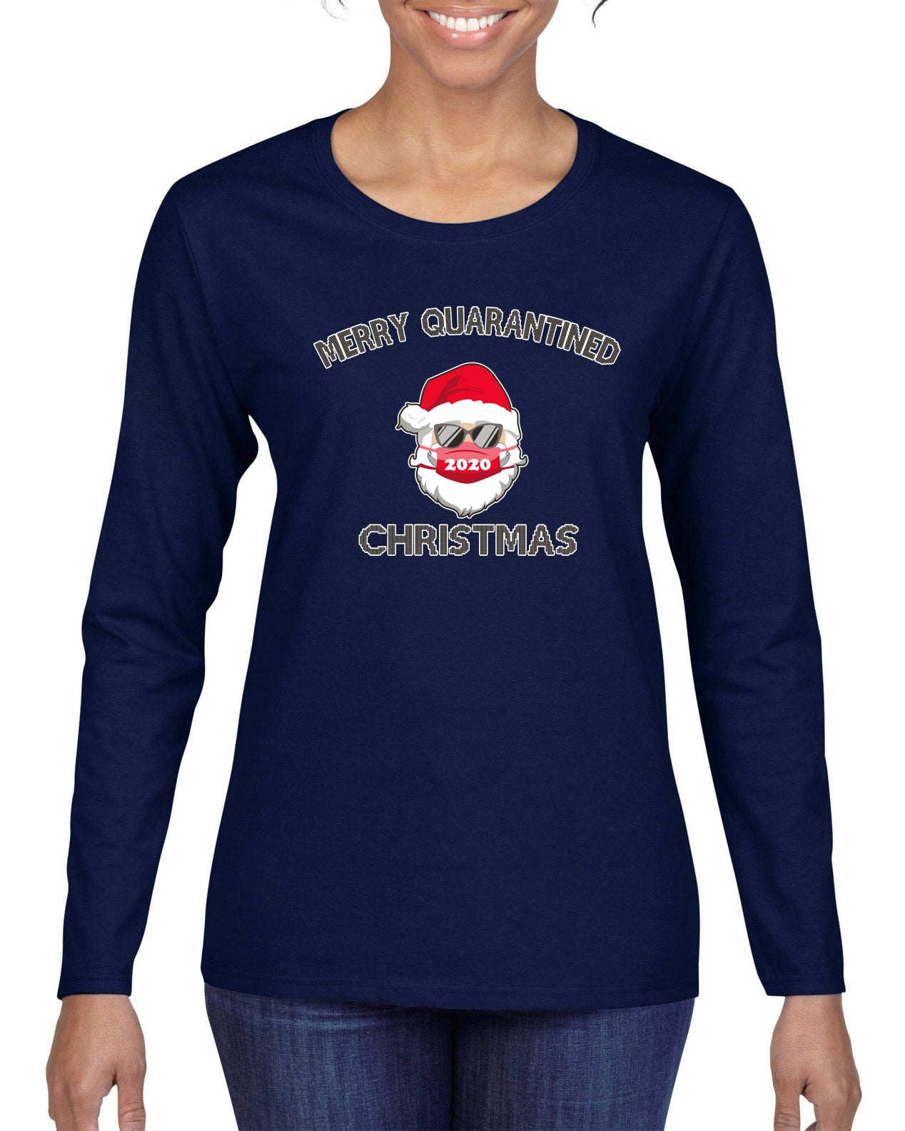 Merry Quarantined Christmas 2020 Christmas Womens Graphic Long Sleeve T-Shirt