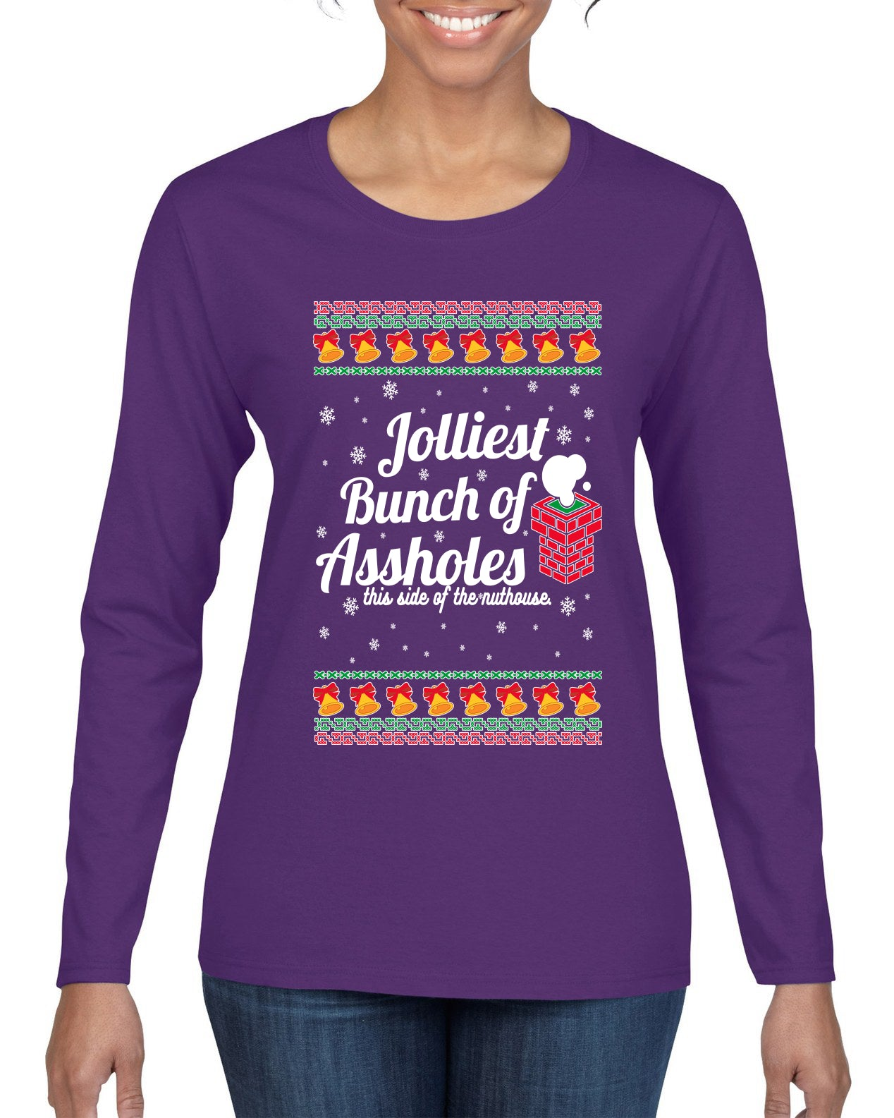 Jolliest Bunch of Assholes Xmas Movie Ugly Christmas Sweater Womens Graphic Long Sleeve T-Shirt