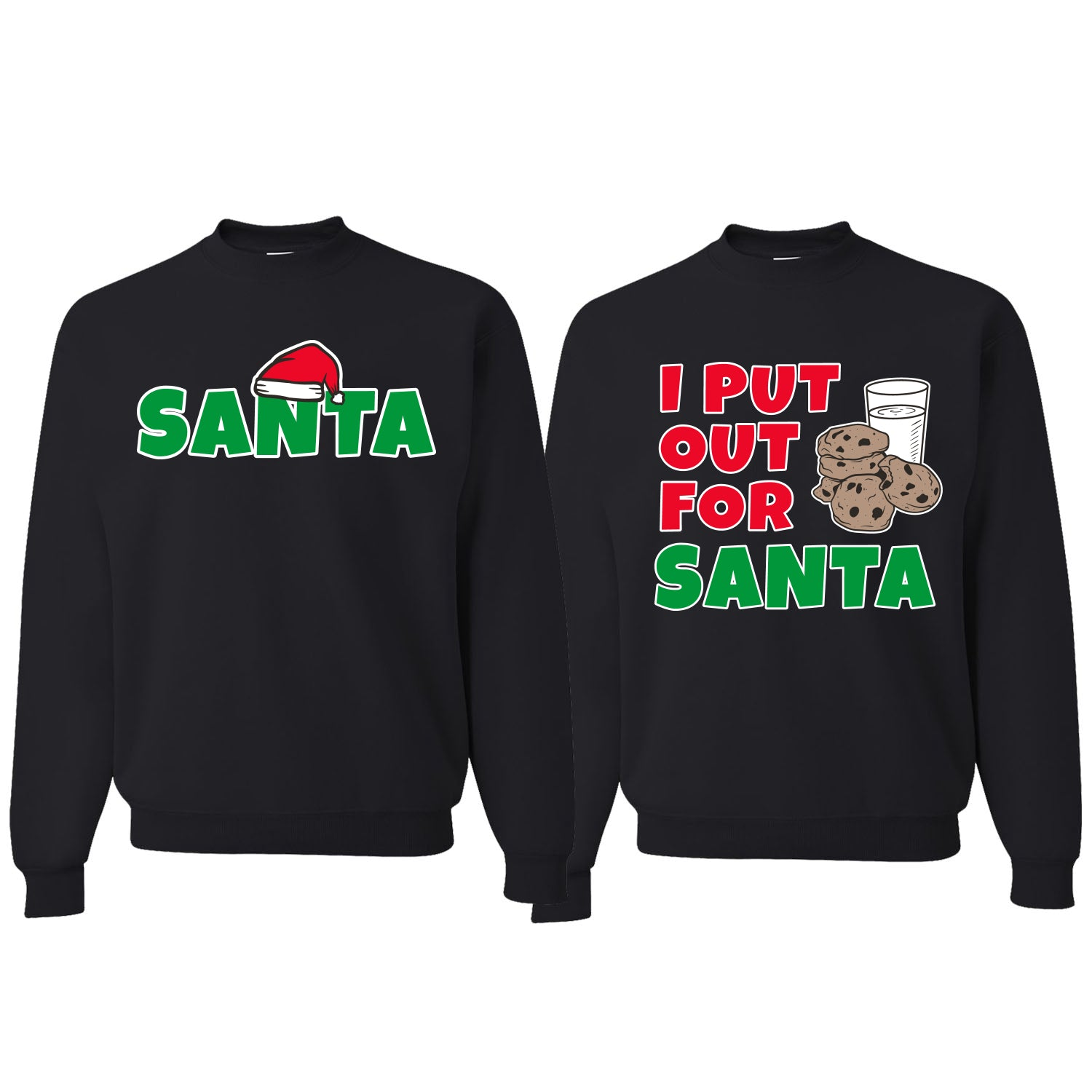 I Put Out For Santa Cookies Milk Xmas Christmas Matching Couples Crewneck Sweater