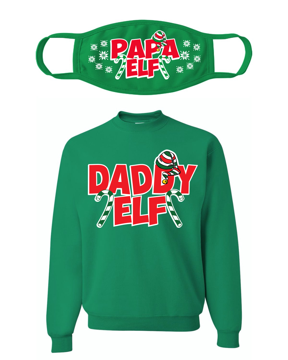 Daddy Elf Ugly Christmas Sweater Christmas Unisex Crewneck Sweatshirt-Mask Combo