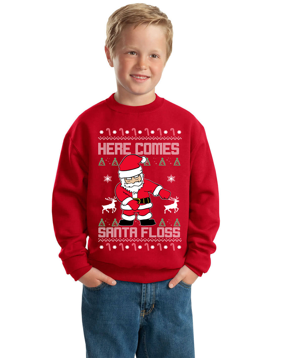 Here Comes Santa Floss Funny Dance Moves Kids Ugly Christmas Sweater Unisex Boys Girls Crewneck Graphic Sweatshirt