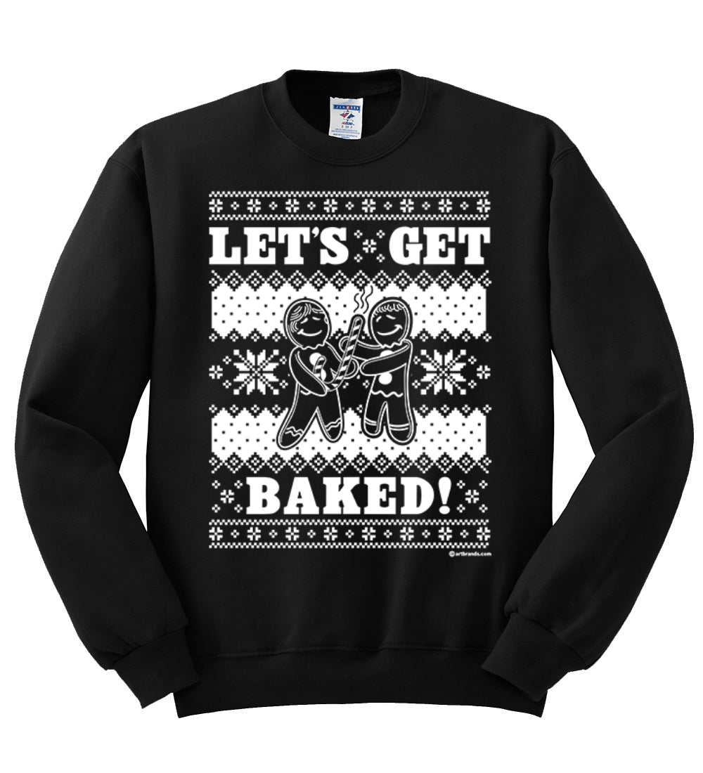 Let's Get Baked Holiday Ginger Bread Design Christmas Unisex Crewneck Graphic Sweatshirt