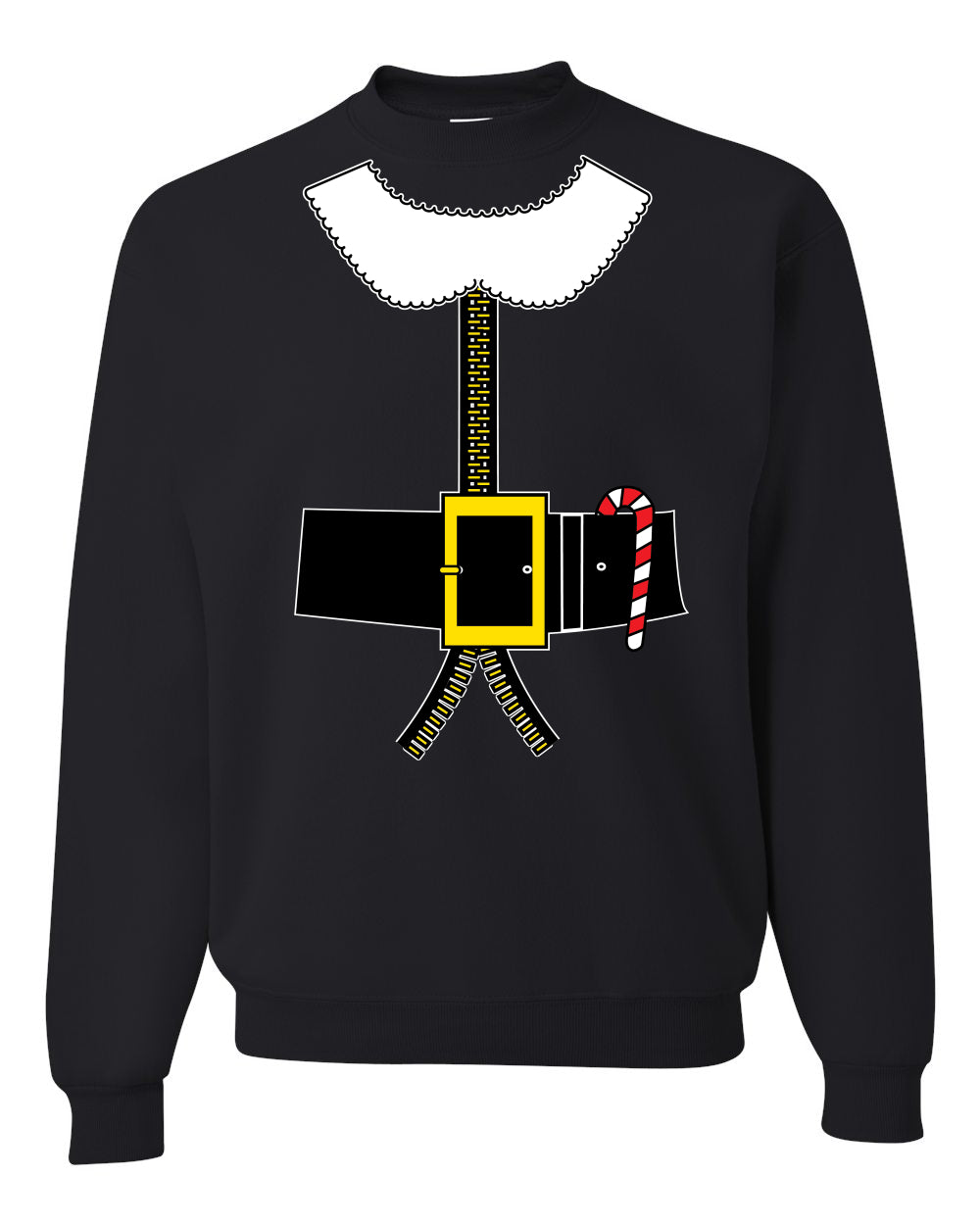 Santa Suit with Beard Belt Candy Cane Christmas Unisex Crewneck Graphic Sweatshirt