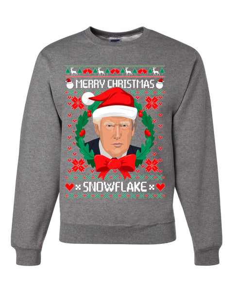 Merry Christmas Snowflake Funny Trump Ugly Christmas Sweater Unisex Crewneck Graphic Sweatshirt