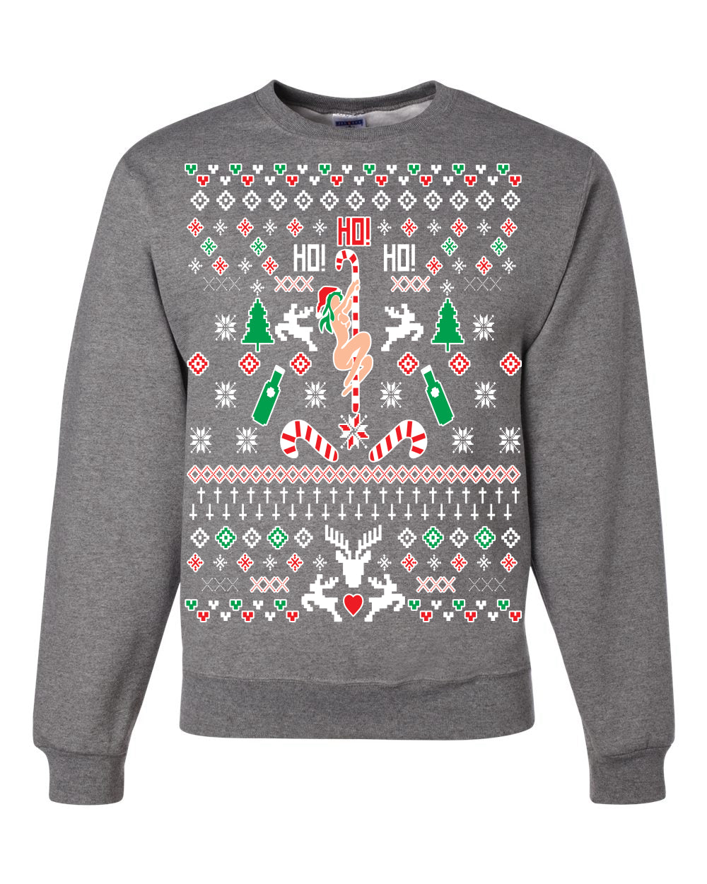 Ho Ho Ho Stripper Christmas Unisex Crewneck Graphic Sweatshirt