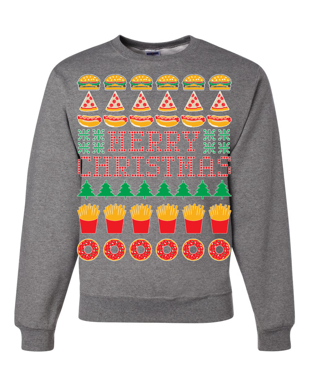 Merry Christmas Junk Food Unisex Crewneck Graphic Sweatshirt