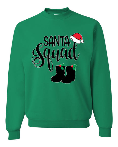 Santa Squad Xmas Hat Boots Ugly Christmas Sweater Unisex Crewneck Graphic Sweatshirt