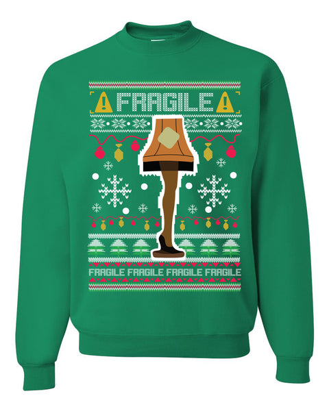 Fragile Leg Lamp Christmas Story Funny Xmas 80s Movie Christmas Unisex Crewneck Graphic Sweatshirt