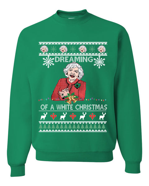 Funny Betty White I'm Dreaming of a White Christmas Movie Actress Christmas Unisex Crewneck Graphic Sweatshirt