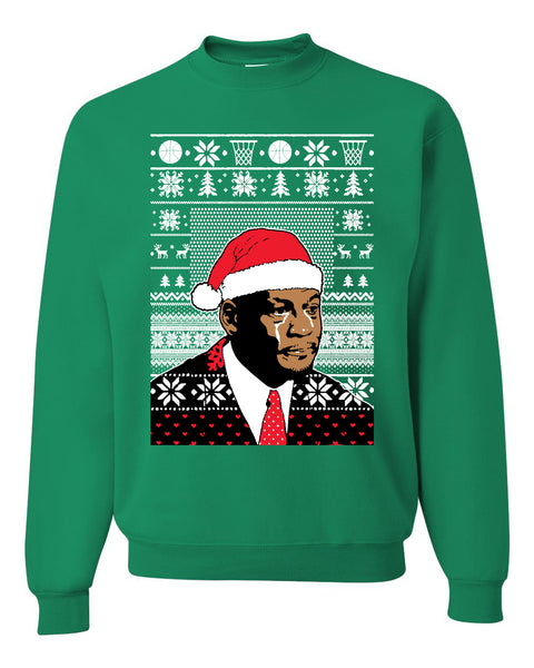 christmas crying jordan Christmas Unisex Crewneck Graphic Sweatshirt