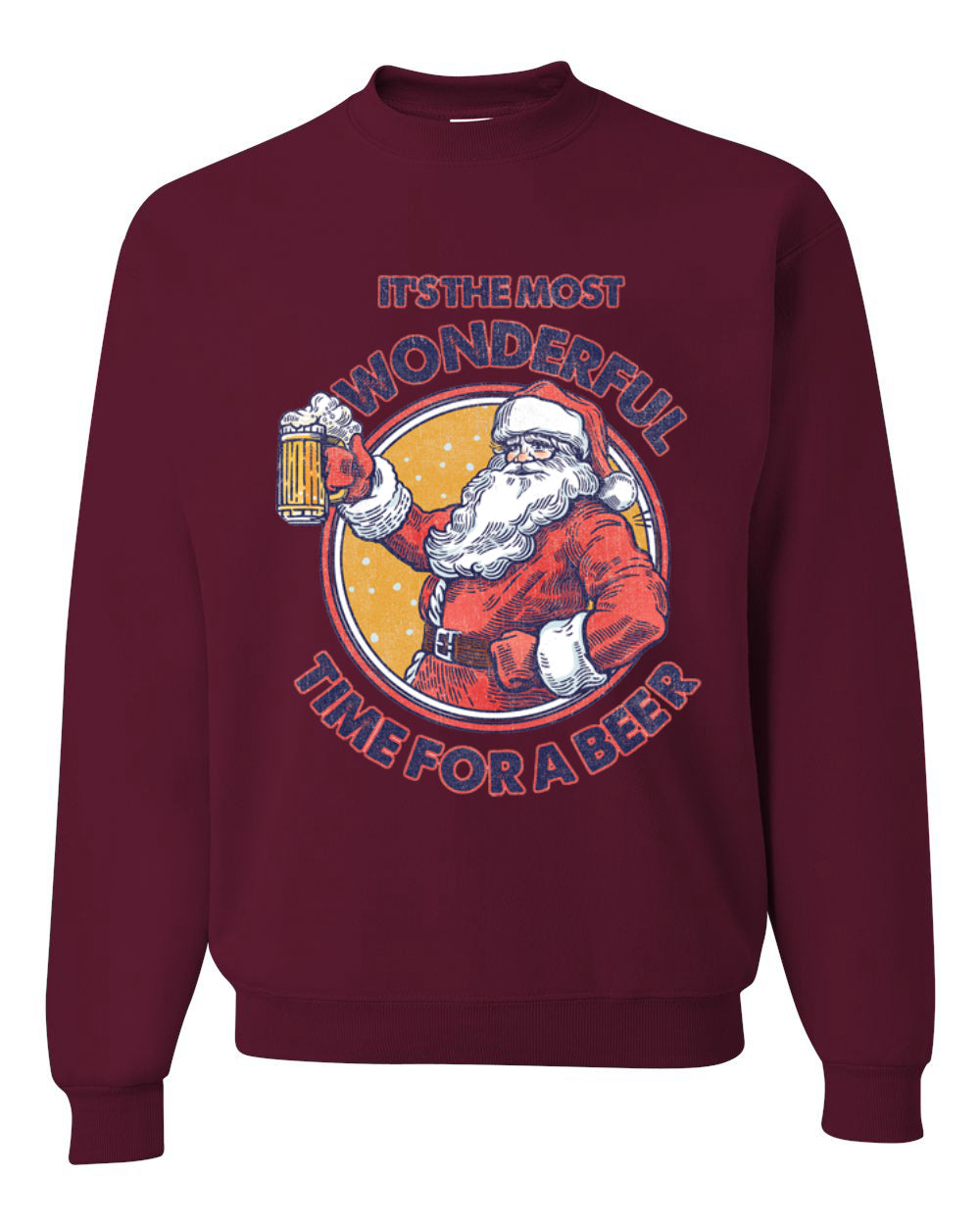 Santa It's the Most Wonderful Time for a Beer Christmas Unisex Crewneck Graphic Sweatshirt