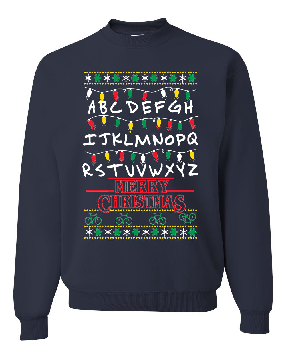 Alphabet A-Z Christmas lights Christmas Unisex Crewneck Graphic Sweatshirt