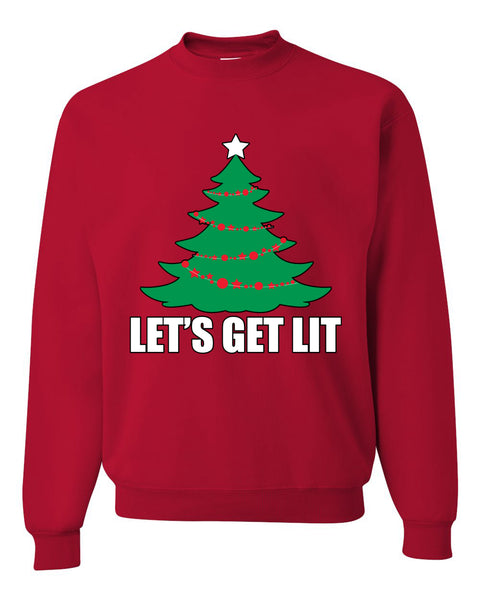 Lets Get Lit Xmas Tree Ugly Christmas Sweater Unisex Crewneck Graphic Sweatshirt