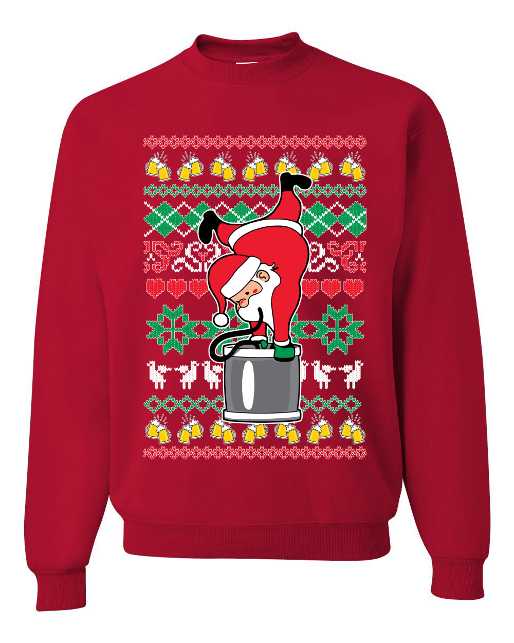 Santa Keg Stand Beer Drinking Drunk Ugly Christmas Sweater Christmas Unisex Crewneck Graphic Sweatshirt