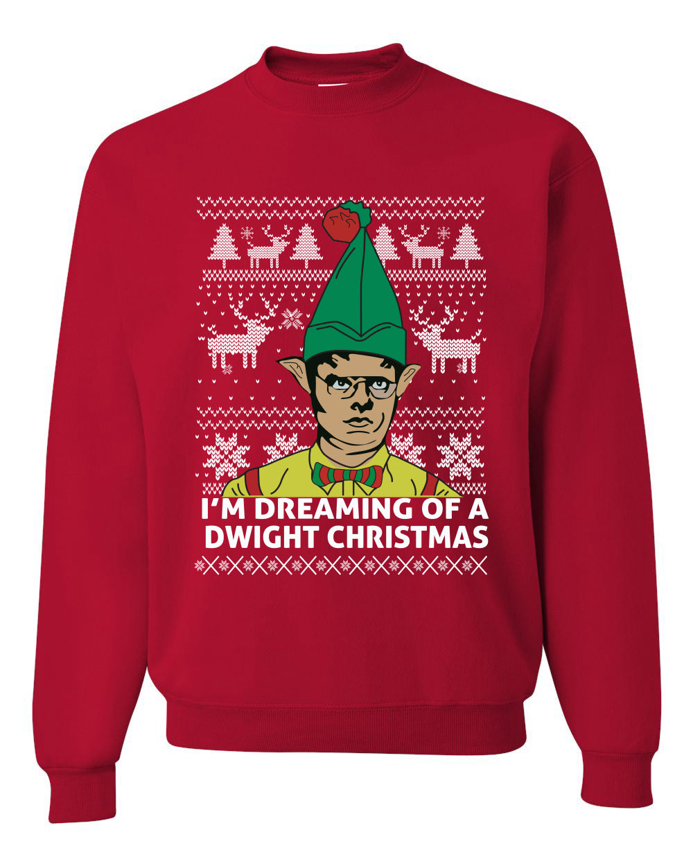 The Office Dwight Dreaming Of A Dwight Christmas Ugly Christmas Sweater Unisex Crewneck Graphic Sweatshirt