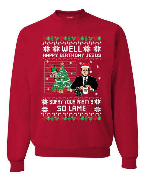Well Happy Birthday Jesus Funny Quote Office Christmas Unisex Crewneck Graphic Sweatshirt