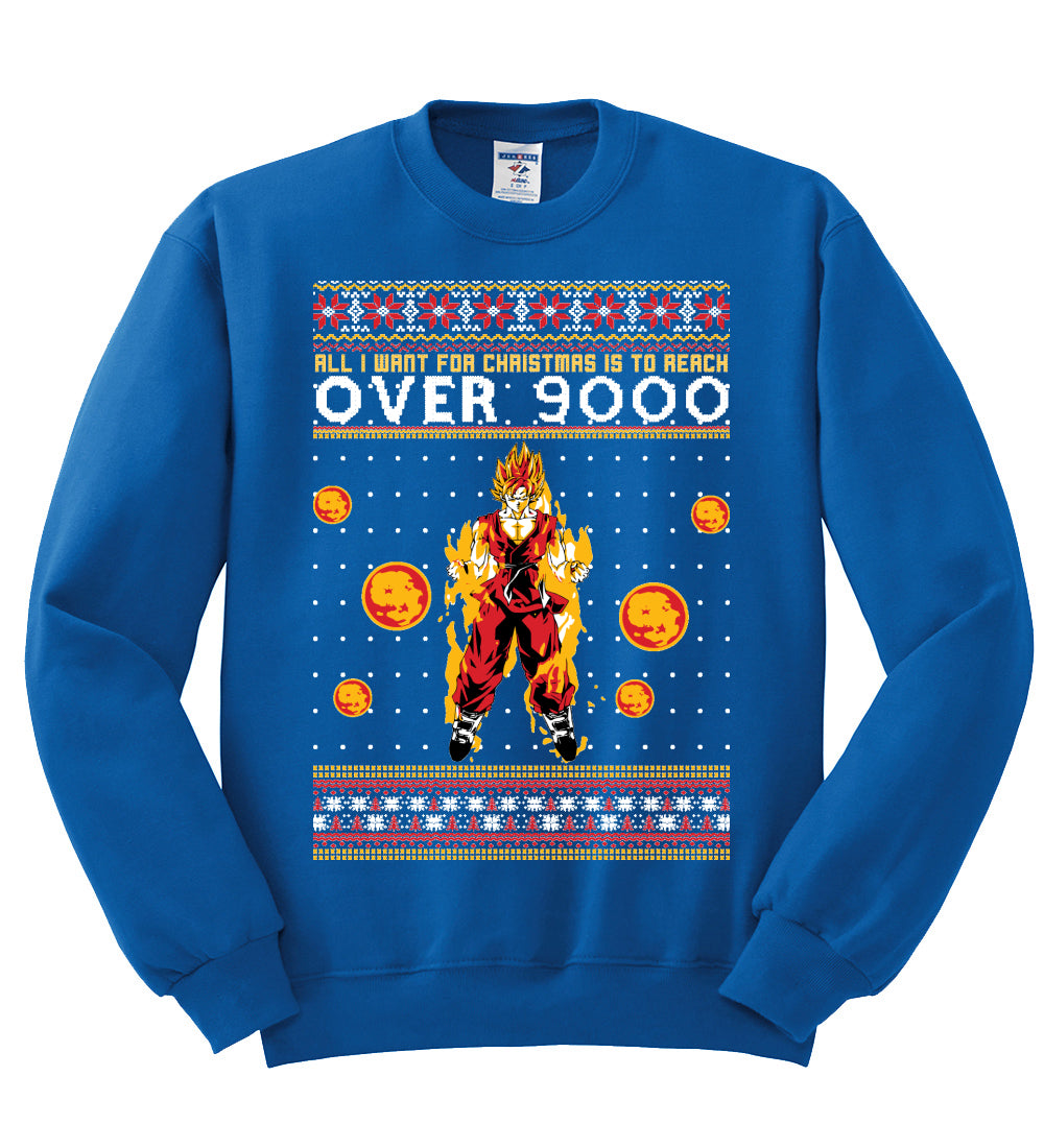 All I Want for Christmas is to Reach Over 9000 Christmas Unisex Crewneck Graphic Sweatshirt