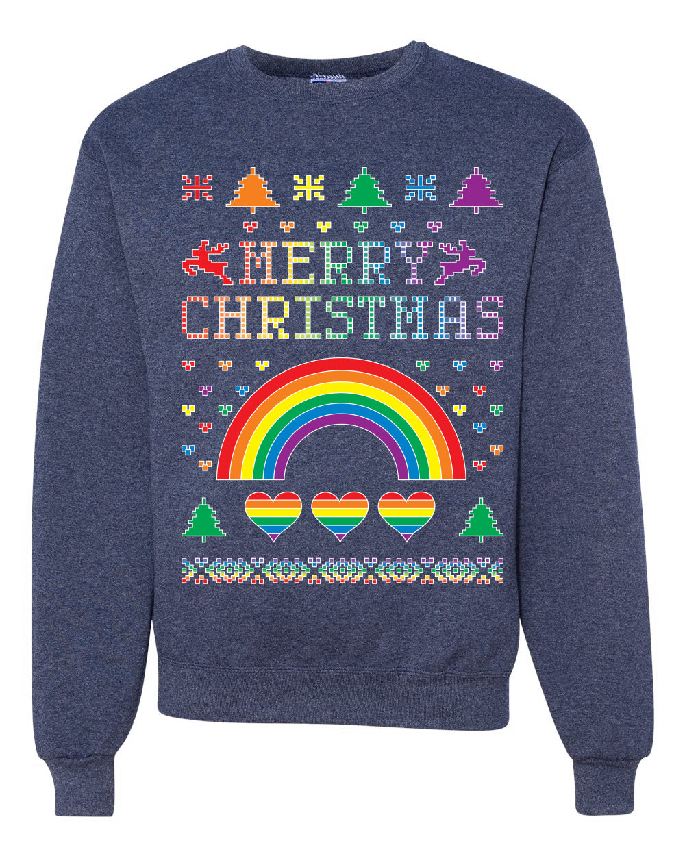 Merry Christmas Rainbow Hearts Unisex Crewneck Graphic Sweatshirt