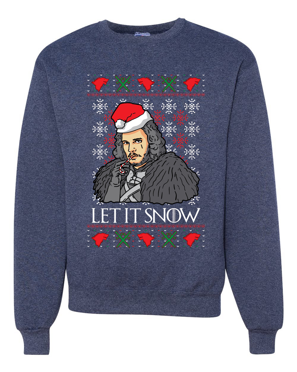 Let It Snow | Jon Snow Full Color GoT Christmas Unisex Crewneck Graphic Sweatshirt