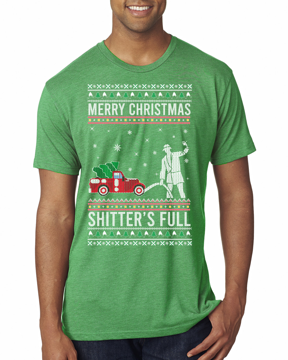 Merry Christmas Shitter's Full Christmas Vacation Ugly Christmas Sweater Mens Premium Tri Blend T-Shirt