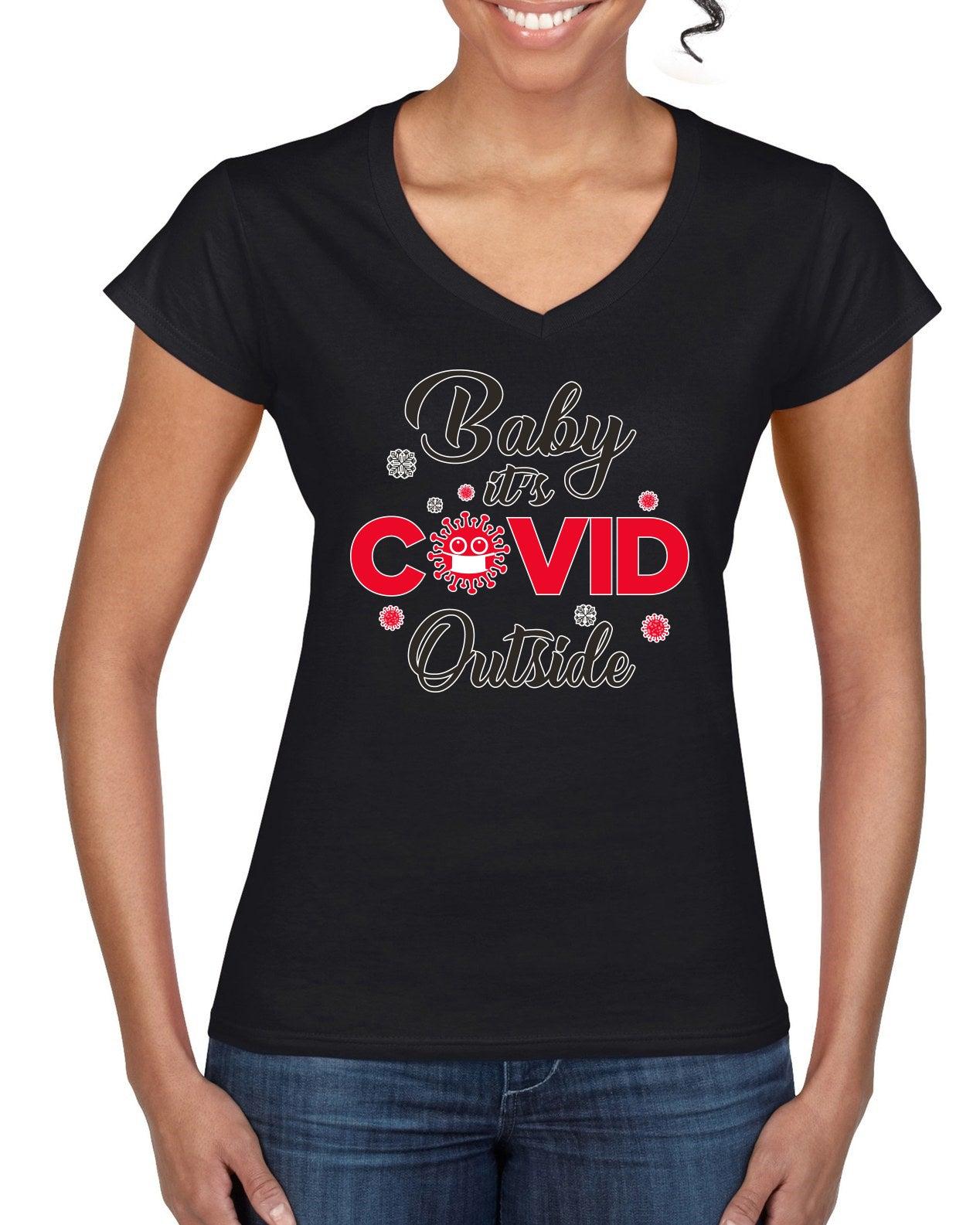 Baby it's Covid Outside Christmas Women's Standard V-Neck Tee